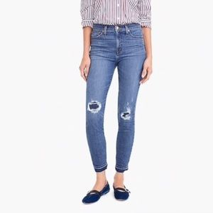 "J Crew 9"" High Rise Toothpick Jeans Rip n Repair"